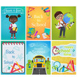 back to school card template pages set education vector image