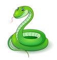 cartoon of a nice green snake vector image vector image