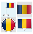Chad flag - sticker button label flagstaff vector image vector image