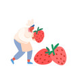 chef bakery with sweet food strawberry concept man vector image