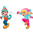 Children Snow vector image