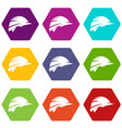 construction helmet icon set color hexahedron vector image vector image