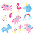 cute unicorns with set collection with rainbow vector image vector image