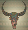 Decorative indian bull scull in tribal style on vector image vector image