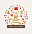 decorative snow globe with christmas tree vector image vector image