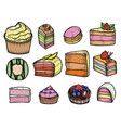 desserts and sweets color vector image vector image