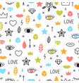 doodle seamless pattern with eyes lips hearts vector image