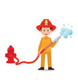fireman spraying a water hose isolated on white vector image vector image