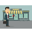 flat of a businessman with vector image vector image