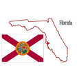 florida state map and flag vector image vector image