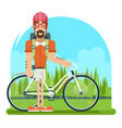 forest ride bicycle geek hipster ycling travel vector image vector image