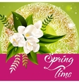 Fresh spring background with white flowers and vector image