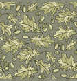 green oak acorn and leaves seamless pattern vector image