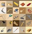 group tool set gardener builder and carpenter vector image