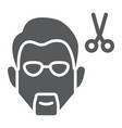 haircut glyph icon barber and hairstyle barber vector image