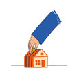 hand throws a penny into house in form of vector image