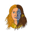 hel norse goddess face front drawing color vector image