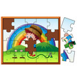 jigsaw puzzle game with boy watering flower vector image vector image
