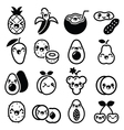 Kawaii fruit and nuts cute characters icons set vector image vector image