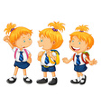 Kids in school uniform vector image vector image
