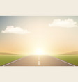 landscape with road and sunset runway vector image