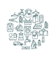 Laundry elements in a circle design vector image