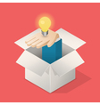 Lightbulb in hand in box vector image vector image