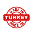 made in turkey red stamp on white background vector image vector image