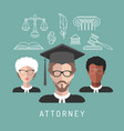 male and female lawyer app icons with vector image