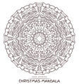 mandala for coloring with christmas elements vector image