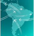 Map of South America with trace of airplanes vector image vector image