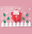 merry christmas greeting card with santa clause vector image