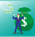 money flying toward strong businessman vector image vector image