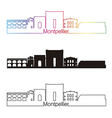 montpellier skyline linear style with rainbow vector image vector image