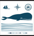 nautical set with blue whale vector image vector image