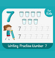 number seven tracing worksheets vector image vector image