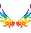 pair colorful wings on white vector image vector image