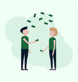 people catch falling money vector image