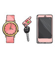 pink watch car key phone women accessories vector image vector image