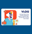 popular video blog flat banner template vector image vector image