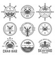 seafood menu emblems badges or labels vector image vector image