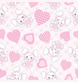 seamless background valentines day with cute vector image vector image