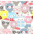 seamless pattern of celebrated teddy bear vector image