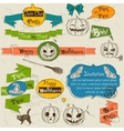 Set of vintage deign elements about Halloween vector image vector image