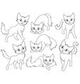 Seven funny cartoon cats vector image vector image