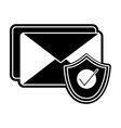 Silhouette e-mail letter message with security vector image