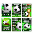 soccer sport event flyer promo posters set vector image vector image