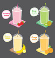 strawberry kiwi banana orange juice fruit smoothie vector image vector image