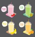 strawberry kiwi banana orange juice fruit smoothie vector image