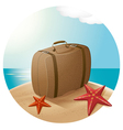 Suitcase At The Sea Beach vector image vector image